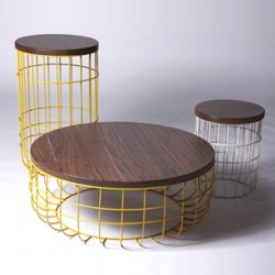 The Wire Group of occasional tables by Dare Studio, inspired by Victorian birdcages