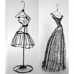 ive always been fascinated by 2D/3D relations.  these wire dresses are a 3D rendition of the 2D sketches trying to capture depth.