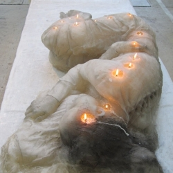 This wax woman embedded with candle wicks was made by Lenn Cox for the Arnhem Mode Biennale 2011.