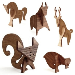 Moderne Wood Animals, designed by Linnea Gits and Peter Dunham exclusive for DWR - Fox, Bear, Horse, Deer, and Bull