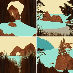 "The Northwest Coast Prints Set of 6 by Jefdesigns. Prints measure 6""x6"" and are mounted on 1/2"" thick, espresso stained panels."