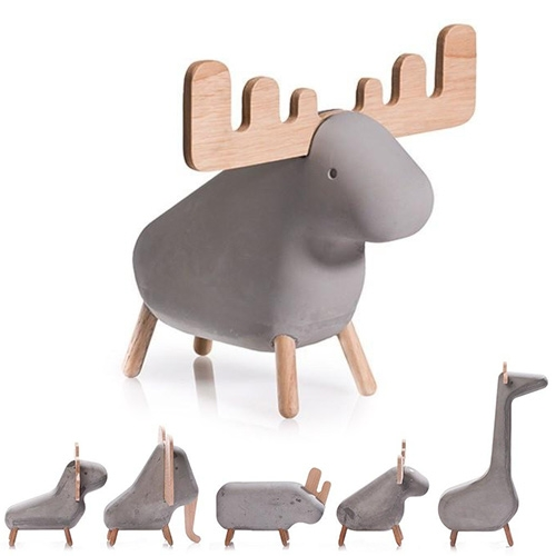 Moxon Concrete Animals - Meticulously designed by Korridor in collaboration with MOXON, the concrete animal collection includes a Lion, Moose, Giraffe, Rhino and an Elephant. Made of concrete and fine ash wood.