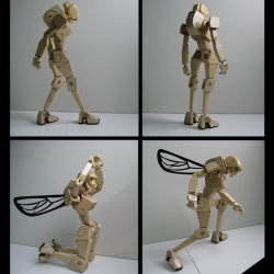 the wooden queen is a concept proposal for a fully articulated wooden action figure by Mani Zamani