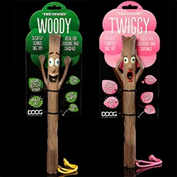 Doog's The Sticks! Woody and Twiggy - Made from recycled rubber, 'The Sticks' all come with a handy grip moulded into the toy plus a slobber resistant rope for improved throwing and grappling.