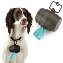 Cute dog barrel poop bag holder for the collar