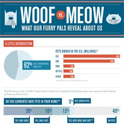 Woof vs Meow. What do your furry friends reveal about you? Infographic from the Hunch Blog.