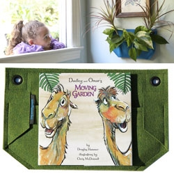 Woolly Pocket Gift Set for kids ~ a mini pocket and Dudley & Omar's Moving Garden picture book.