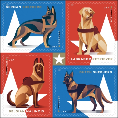 USPS Military Working Dogs Stamps - designed by Greg Breeding with artwork by DKNG Studios featuring a German shepherd, Labrador retriever, Belgian Malinois and Dutch shepherd.
