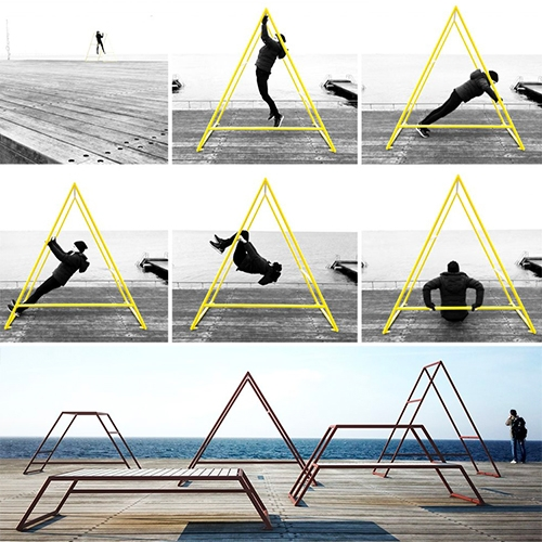 "Kebne Outdoor Gym designed by Kauppi & Kauppi for Nola. ""Designed with outdoor fitness in mind, Kebne is a system of three-dimensional frames for low-impact resistance training, overall body conditioning, stretching, flexing, fun and play."""
