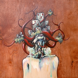 """Grotesque new works on wood by Daryll Peirce - soon to be shown in the new group show in LA, """"Golden Age"""" which will also feature such names as Cat Cult, Buff Monster, and Phil Lumbang!"""