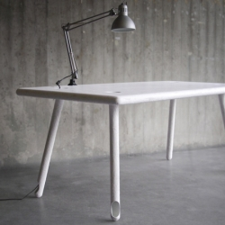 This work table, Blickfang, by Stuttgart State Academy of Art and Design graduate Beatus Kopp, would be a perfect addition to your home/office. It has hollow legs to hide your electrical wires making for a clean tabletop.