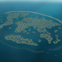 The World, a series of man made private islands in the shape of a world map off of Dubai has finally been completed. The islands are for sale staring at  $10 million USD. Created and developed by Nakheel.