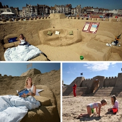 The world's first sand castle hotel has recently opened at Weymouth beach in the seaside town of Dorset in the UK. The hotel was constructed from approximately 1000 tonnes of sand.