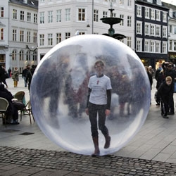 World Aids Day. The person inside the balloon wore a t-shirt wich carried the campaign message: Predjudice is one of the worst side-effects.
