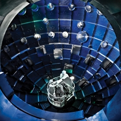 National Ignition Facility, home of the world's most powerful laser, spreads over an area nearly the size of three pro league football fields, most of the space occupied by equipment that revs up 192 laser beams.