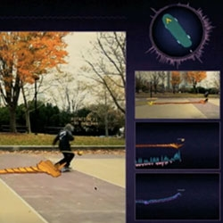 Skataviz is an experimental prototype developed by Design I/O which uses an iPhone or iPod touch attached to a skateboard to record its motion and visualize its movement as 3D data augmented over live video.