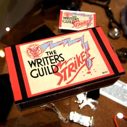 In light of the writers' strike... someone has created these awesome vintage-esque The Writer's Guild Strikes Matchboxes!