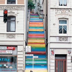 Cool stairs in Wuppertal. Acrylic paint on 112 steps. Each color expresses a different emotion.