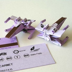 Painter Hubert de Lartigue shows how to make an X-Wing fighter from a Parisian Metro Ticket