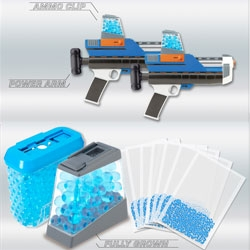 Forget about water guns this summer. Xploderz water pellet guns are more like paintballs, and you can 'make your own' ammo by soaking pellets of the superabsorbent polymer.