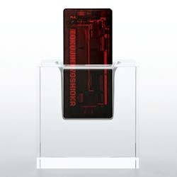 Tokujin Yoshioka teams up with KDDI iida to create x-ray, a mobile phone with a transparent body.