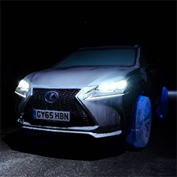 Lexus NX on Ice Wheels - Lexus had the Hamilton Ice Sculptors of London create NX wheels and tires out of ice then mounted on a frozen NX and driven down the road!