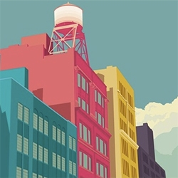 Remko Gap Heemskerk has lovely illustrations of a far more colorful NYC