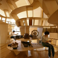 Wooden library in Japan brings mountain scenery indoors. The Yamakoya (which means wooden-log cabin in Japanese) by Ben Nagaoka was a winning project at the 2009 JCD Design Awards.