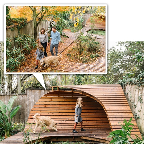 This wooden pathway/structure in Birgit Sfat's Noe Valley (SF) backyard! Built by her husband and artist friend from Munich. Spotted in Cup Of Jo.
