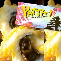 Yatta ~ The new LA food truck with Cheeseburger Sushi, Hawaiian BBQ + Pineapple Rolls, All-American Roll: a deep-fried gem with a core of beefsteak, pickle and melted cheese. Pick colored sticks that represent ingredients to mix and match.