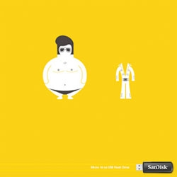 Really fun minimalist graphic ads from Sandisk Micro! So much can fit in so little!
