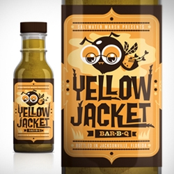 The Dieline gives a wink to the Yellow Jacket BBQ Sauce bottle.