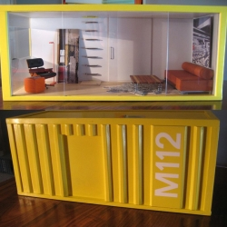M112 PODS are miniature display cases based on the popularity of shipping container pods as housing. Custom built by Paris Renfroe, they are available in multiple sizes. He sells custom furniture too!