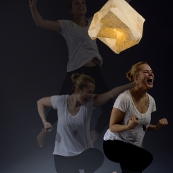 "Check out this series by Julia Fellner. The ceiling lamp ""yes!"" remembers, when you jump for joy. Its paper lampshade is perforated with a triangle structure.  More to be presented on DMY10 in Berlin. Starring the whole superéquipe Team."