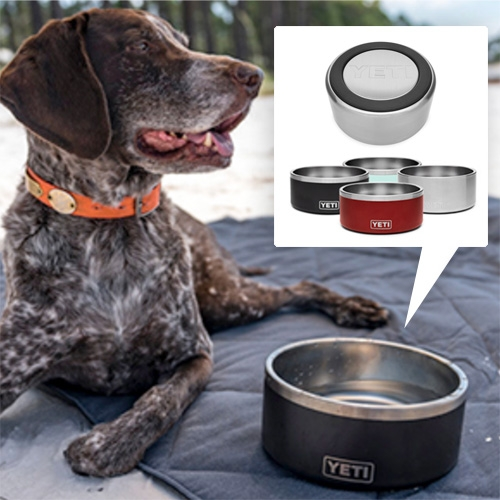 Yeti Boomer Dog Bowl! Double-walled, non-insulated stainless steel that holds 8 cups, has a non-slip base, and can be thrown in the dishwasher.