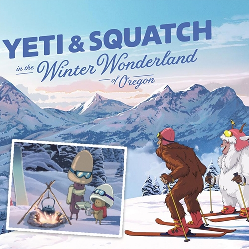 Yeti & Squatch in the Winter Wonderland of Oregon! Beautifully illustrated picture book from Travel Oregon - read the whole thing online! (The mushroom buddies tucked throughout are too cute!) Designed by Wieden+Kennedy with illustrations by Psyop studios.