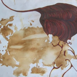 A little bit ambiguous, a little bit sensual and a lot of bit organic. Tea/soy sauce stained original paintings by Michelyah.