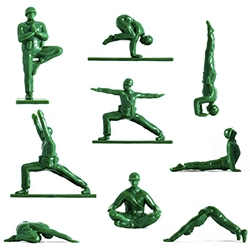 Yoga Joes - plastic green (or hot pink) army men in yoga poses.