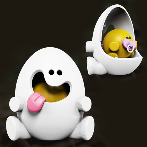 Yolkels by Jason Freeny. A cheeky egg (what else) with a great personality! It comes with a white detachable shell that contains a little surprise inside~ Open it up and you'll find an adorable baby yolkel nestled comfortably with a pink pacifier in its mouth!