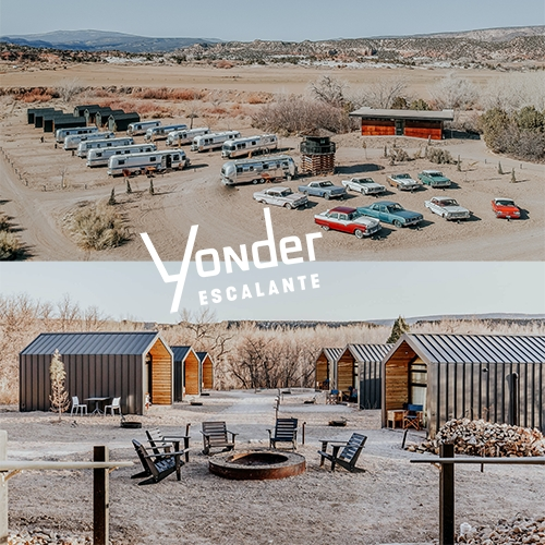 Yonder Escalante, Utah - fun mod cabins and Airstream RV park on the grounds of an old Drive-In movie theater near Bryce Canyon National Park.
