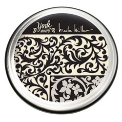 York Mints (the peppermint patties in a mini bite sized ball) ~ has limited edition tins by designers like Nicole Miller...