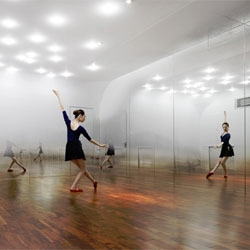 Anzas Dance Studio in Beijing by Yoshimasa Tsutsumi features mirrors that create a foggy effect using a gradient of dots on the mirrored surfaces.