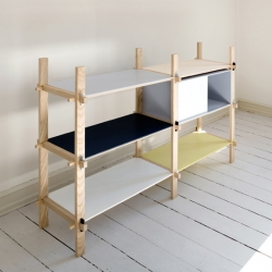 KILE from Yukari Hotta. Storage furniture with a simple form and a friendly assembly system. The only fasteners are the wooden wedges which hold whole construction. No extra metal fasteners are used at all.