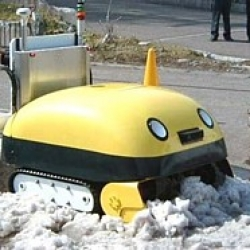 A supercute robot that eats up snow and poops ice blocks.