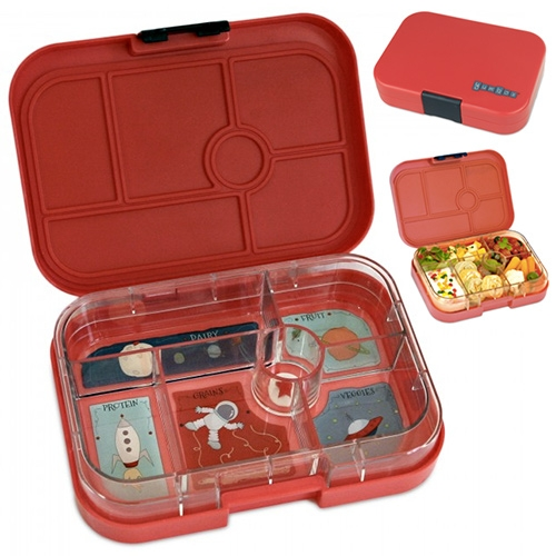 Yumbox Lunchbox for kids (or adults?) - swappable compartmentalized trays for keeping things organized (i.e. grains, protein, fruit, veggies) with fun themes like space.
