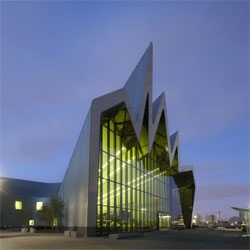 The Riverside Museum of Transport is one of Glasgow's most recent modern cultural buildings, designed by Zaha Hadid Architects and officially opened on June 21, 2011.