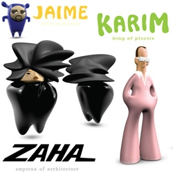 Designer SuperHeroes + Toys = ZAHA! Empress of Architecture. KARIM! King of Plastic. JAIME! Chief of Ceramic. Awesome project by Olivia Lee.