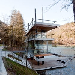 Rowing center with new jury tower in Bled, Slovenia.