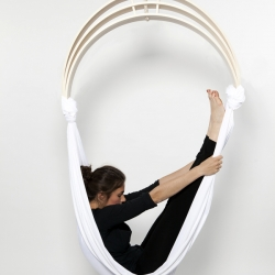 The Zen Circus chair designed by Caroline Kermarrec, Alexia Moisan and Kevin Geffroy.  Fitness-minded furniture that makes it possible for the user to do alternative exercises like yoga positions, trapeze and balance.