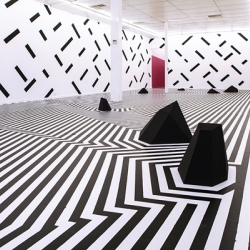 Sam Songailo's 'Zen Garden' installation, vast 3-D drawing that engulfs a new gallery in disused warehouse. Adelaide, South Australia.
